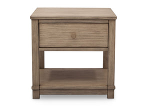Delta Children Rustic Whitewash (112) Langston Nightstand with Drawer and Shelf, Front View, b2b