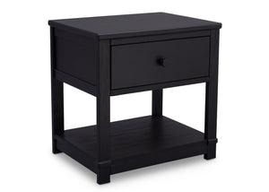Delta Children Rustic Ebony (935) Langston Nightstand with Drawer and Shelf, Side View, d3d