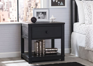 Delta Children Rustic Ebony (935) Langston Nightstand with Drawer and Shelf, Hangtag, d1d