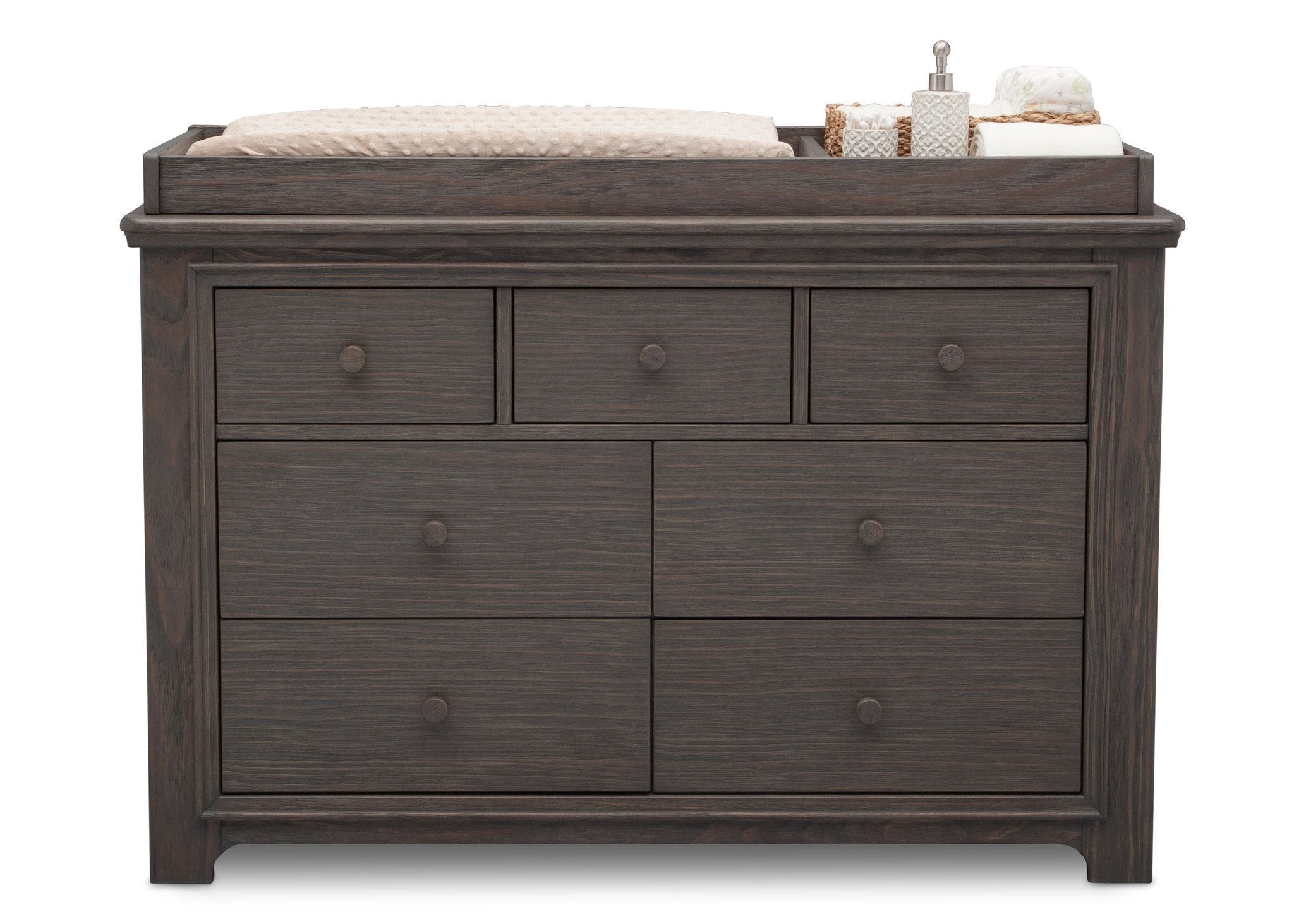 Serta Rustic Grey (084) Langley 7 Drawer Dresser, Front View with Props a3a
