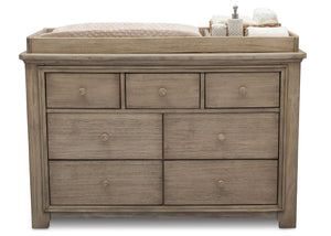 Serta Rustic Driftwood (112) Langley 7 Drawer Dresser, Front View with Props b3b