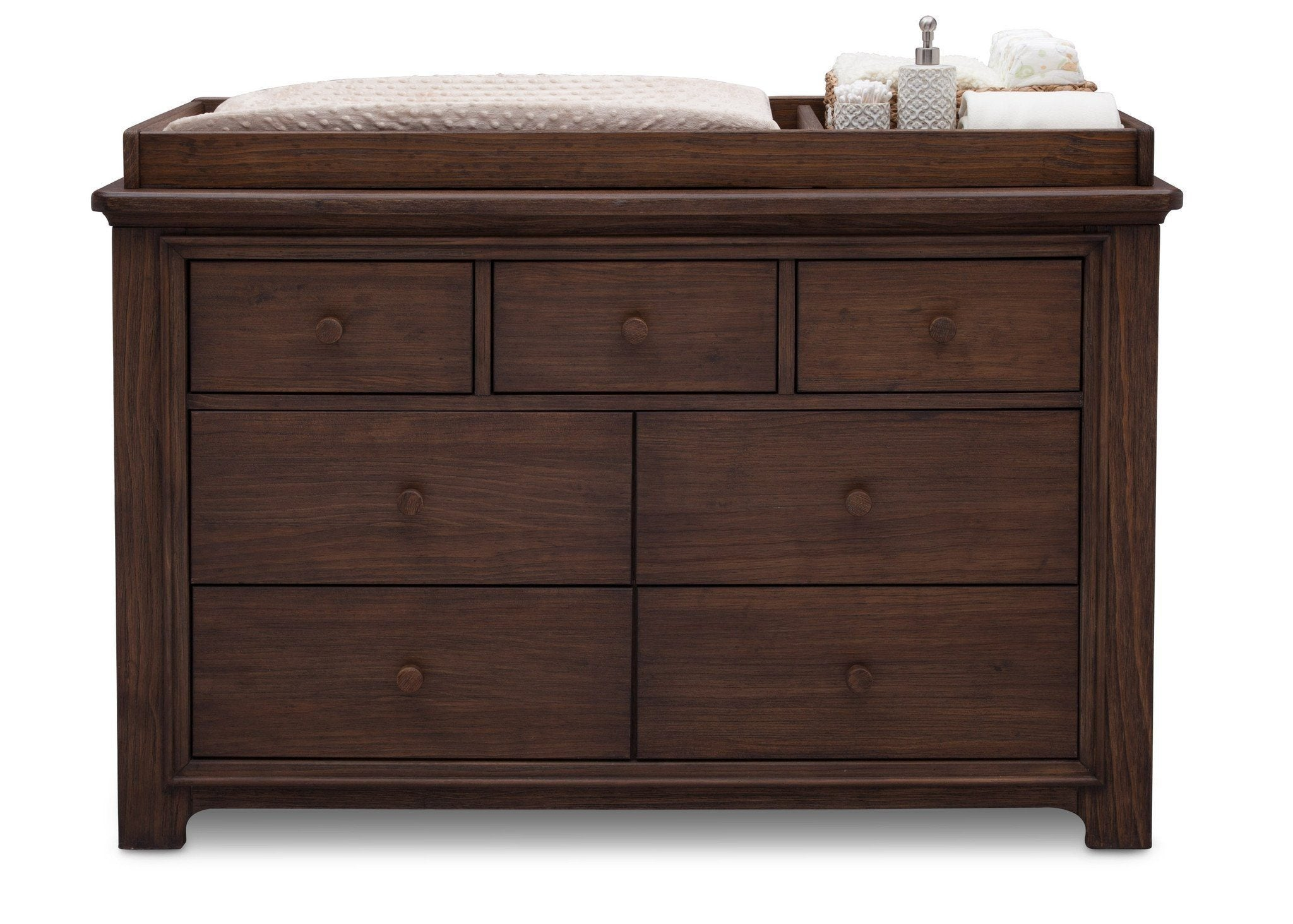 Serta Rustic Oak (229) Langley 7 Drawer Dresser, Front View with Props c3c