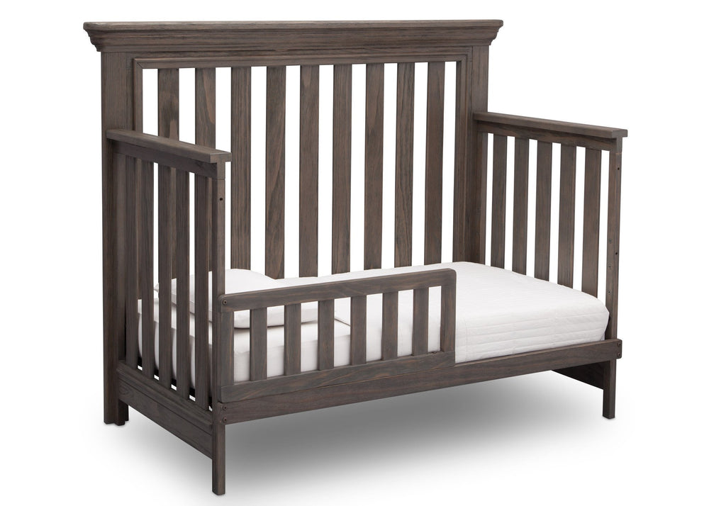Serta Rustic Grey (084) Langley 4-in-1 Crib Right View Toddler Bed Conversion a3a