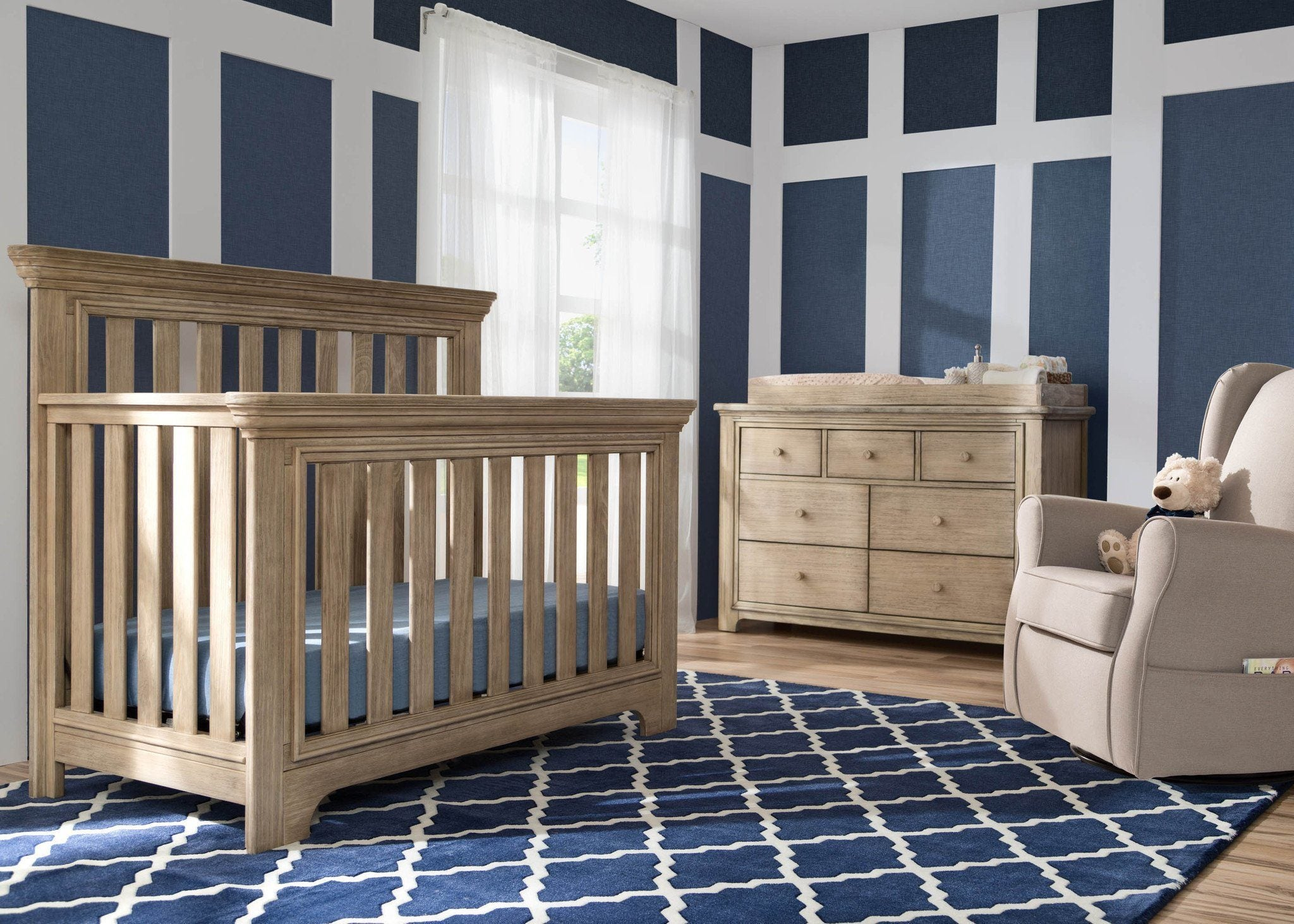 Serta Rustic Whitewash (112) Langley 4-in-1 Crib Room View b1b for Langley 4-in-1 Crib