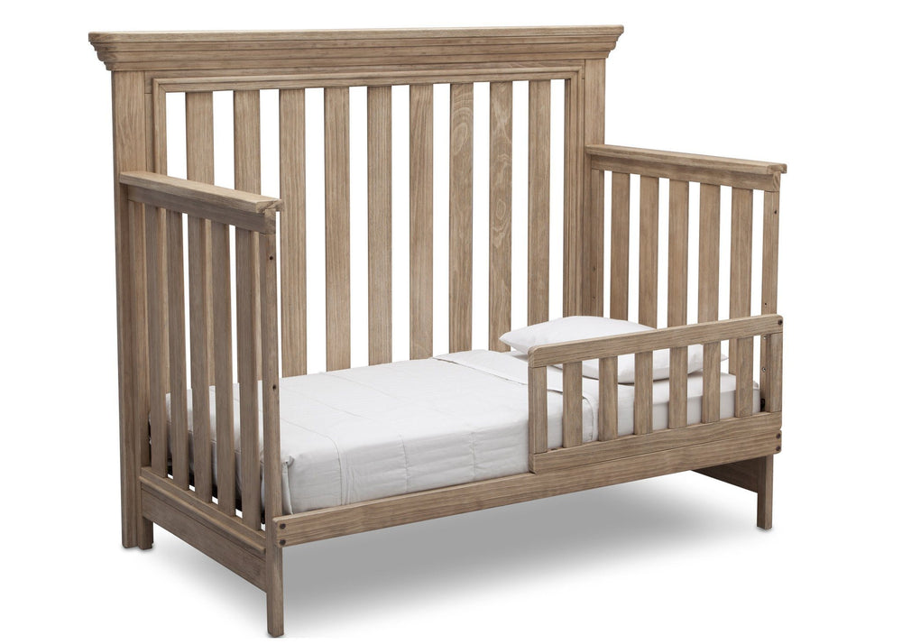 Serta Rustic Driftwood (112) Langley 4-in-1 Crib Right View Toddler Bed Conversion b3b