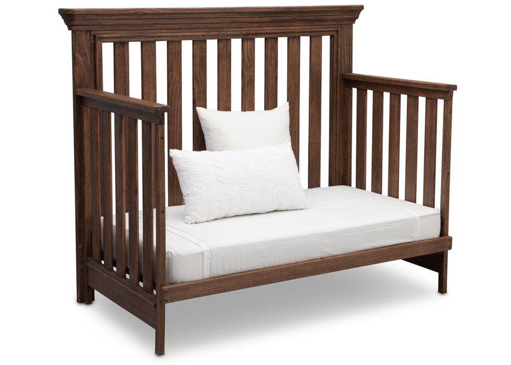 Serta Rustic Oak (229) Langley 4-in-1 Crib Right View Day Bed Conversion c4c