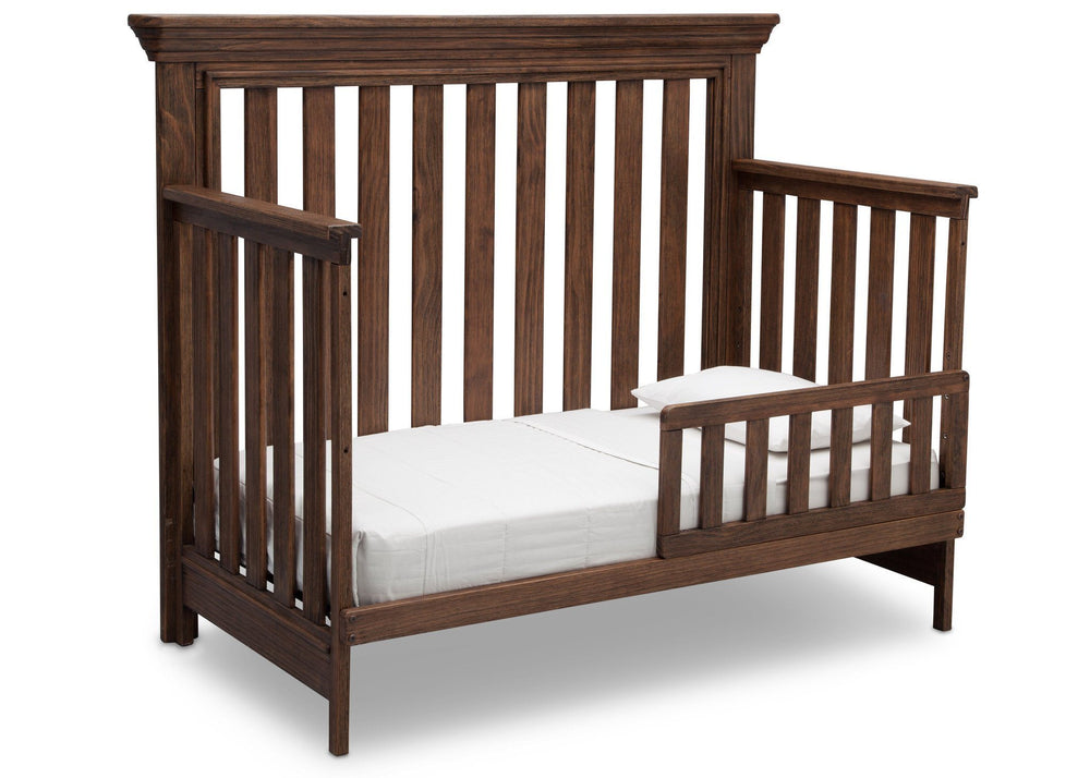 Serta Rustic Oak (229) Langley 4-in-1 Crib Right View Toddler Bed Conversion c3c