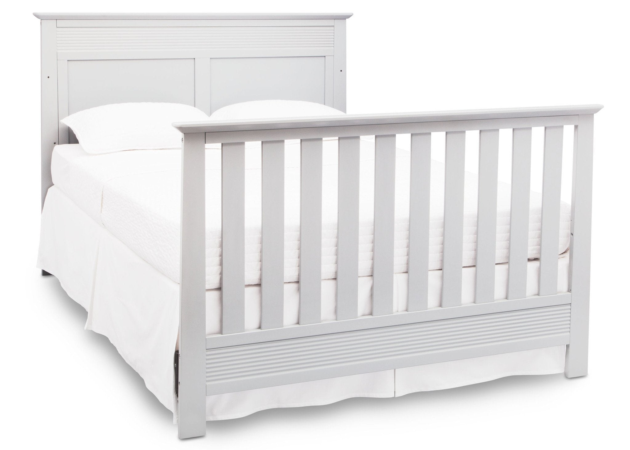 Serta Bianca White (130) Fall River 4-in-1 Convertible Crib, Right Full Bed View b5b