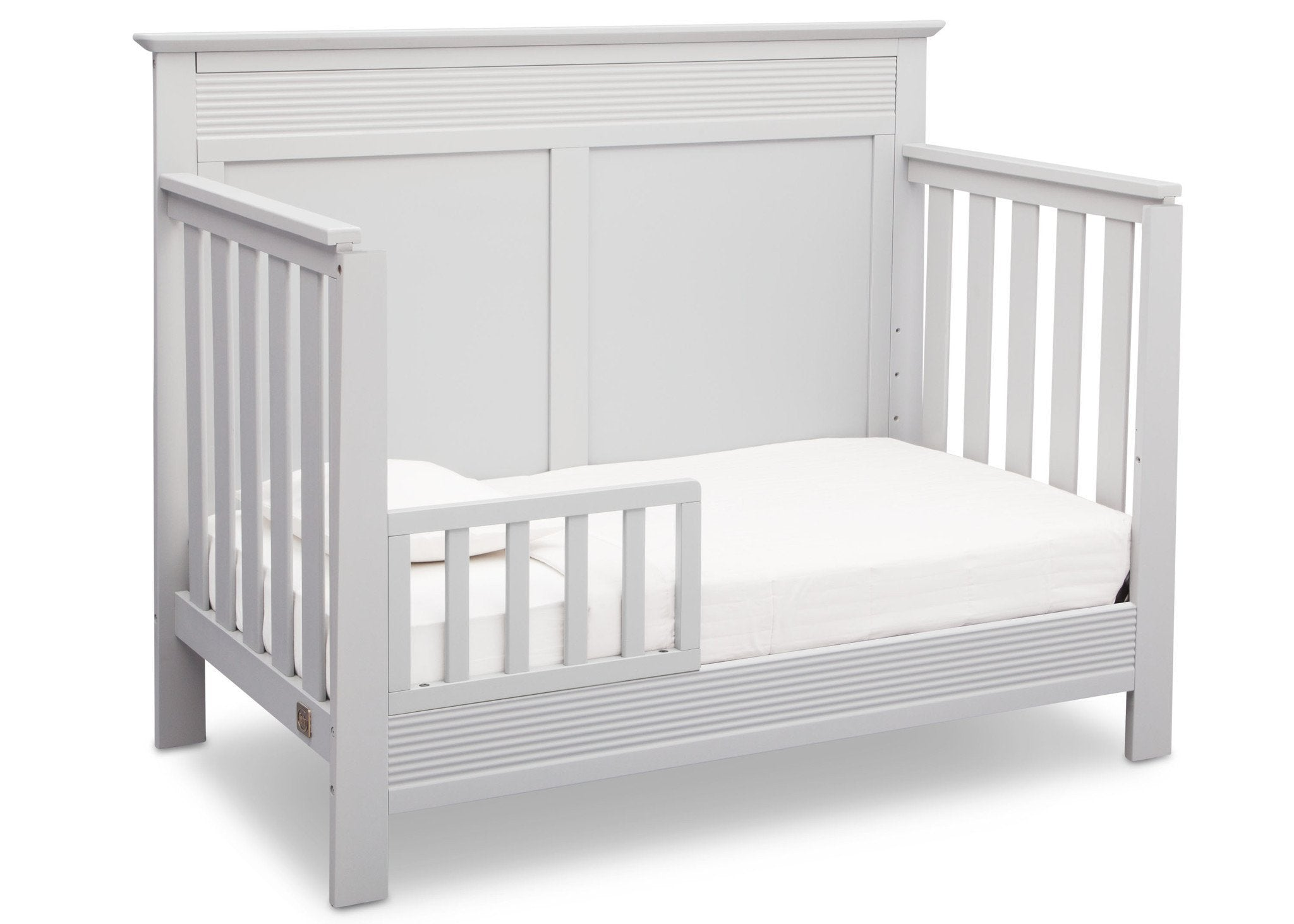 Serta Bianca White (130) Fall River 4-in-1 Convertible Crib, Right Toddler Bed View b3b