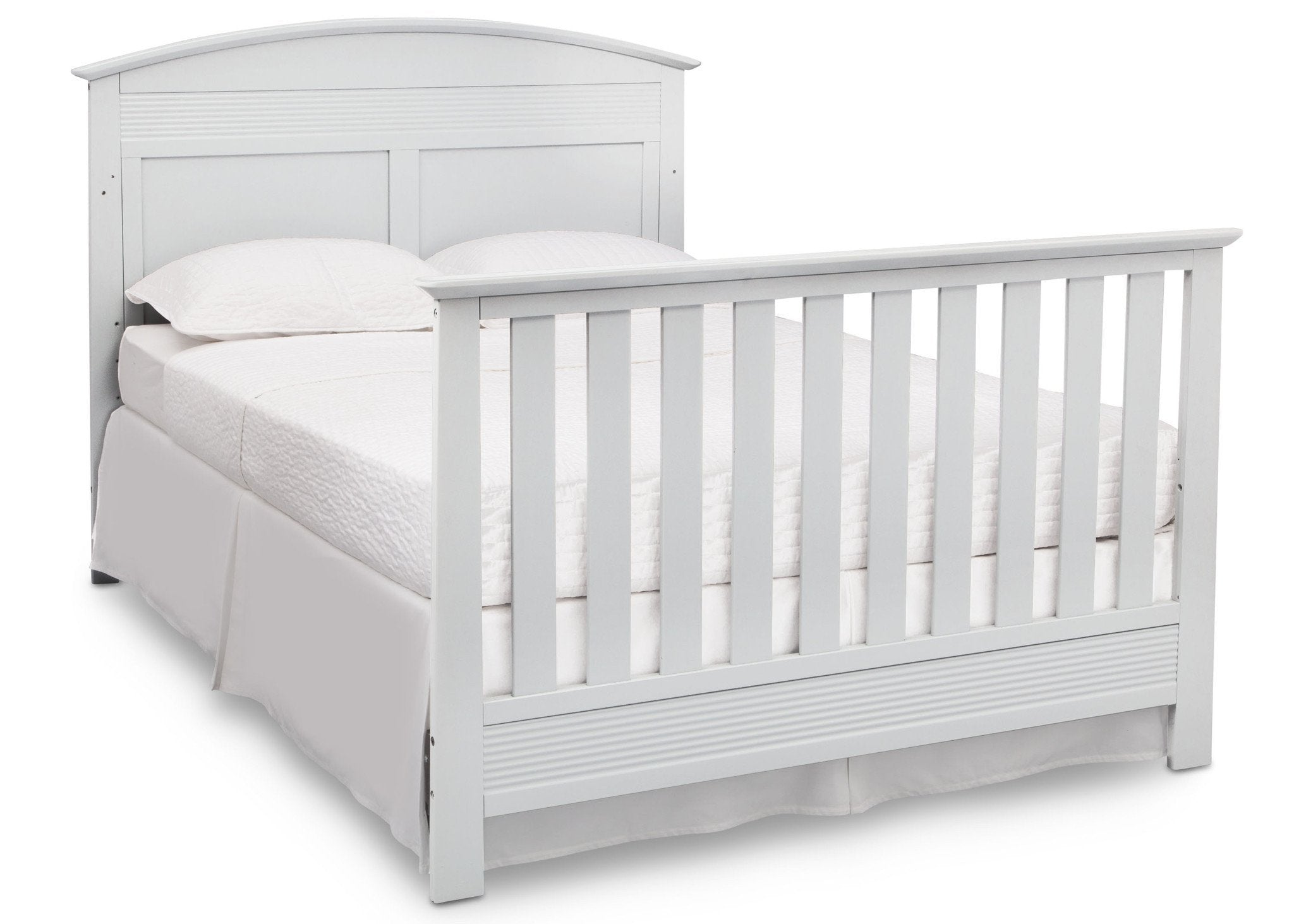 Serta Bianca White (130) Ashland 4-in-1 Convertible Crib, Right Full Bed View with Footboard b6b