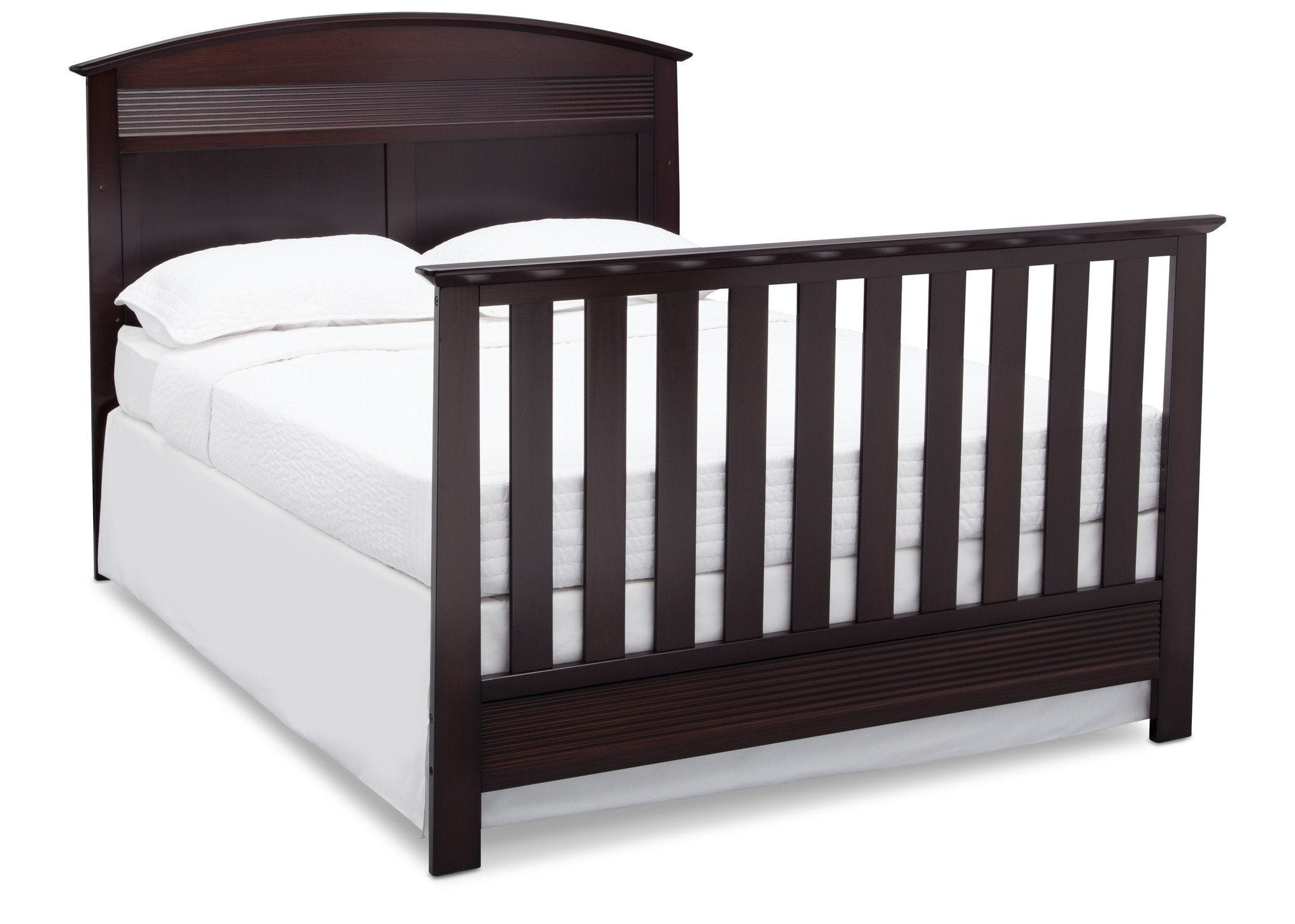Serta Dark Chocolate (207) Ashland 4-in-1 Convertible Crib, Right Toddler Bed View with Footboard c6c