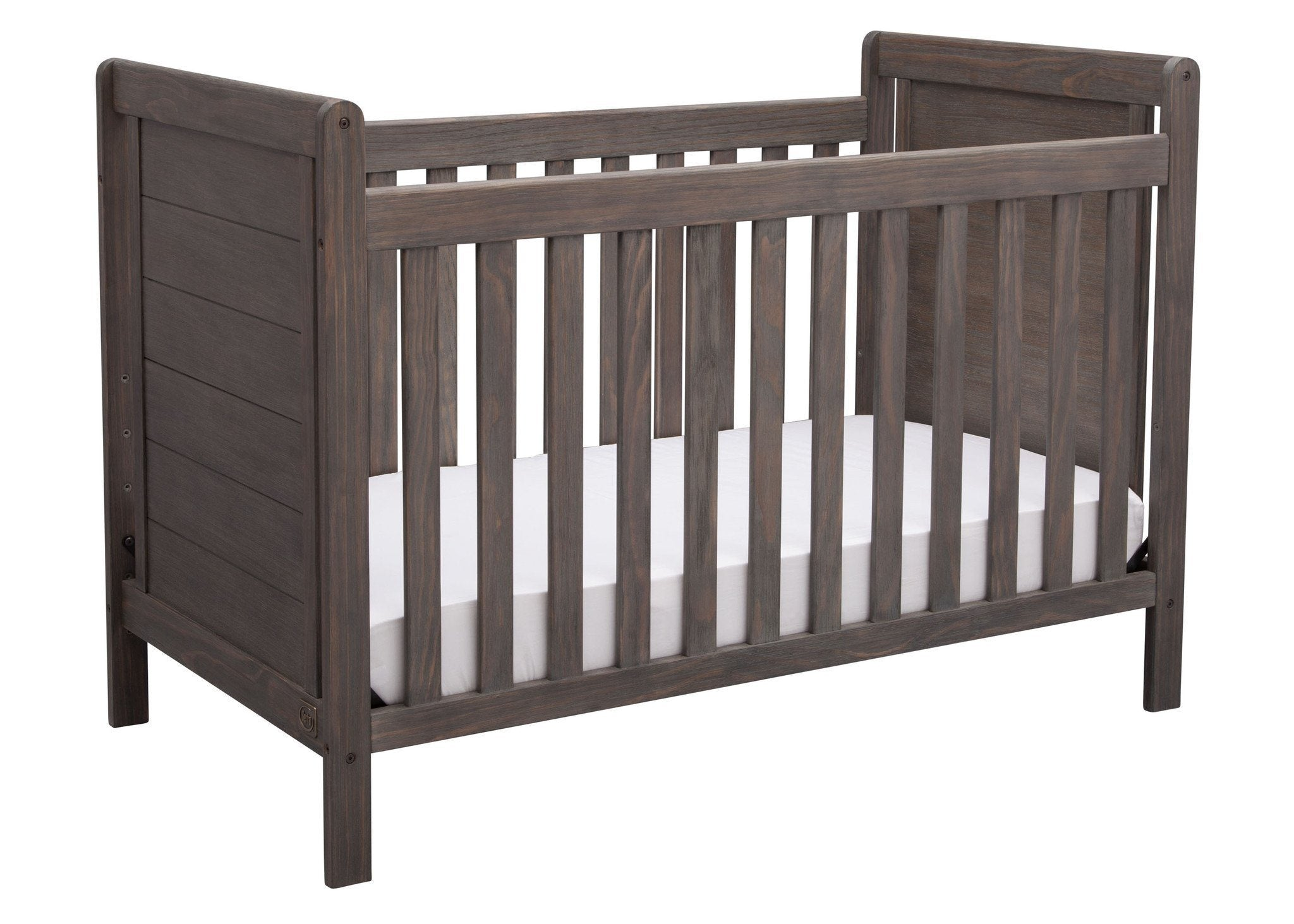 Delta Children Rustic Grey 084 Cali 4 In 1 Crib Angled