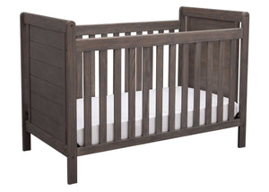 Delta Children Rustic Grey (084) Cali 4-in-1 Crib, angled view, a3a