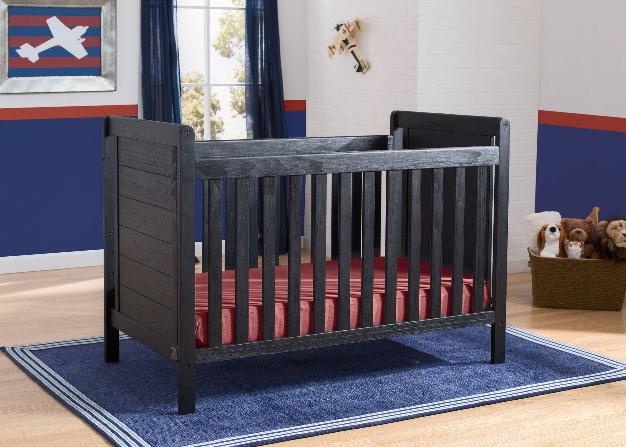 Delta Children Rustic Ebony (935) Cali 4-in-1 Crib, hangtag, c1c