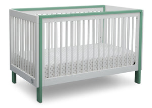 Serta Fremont 3-in-1 Convertible Crib Bianca with Aqua (134) Angle a2a
