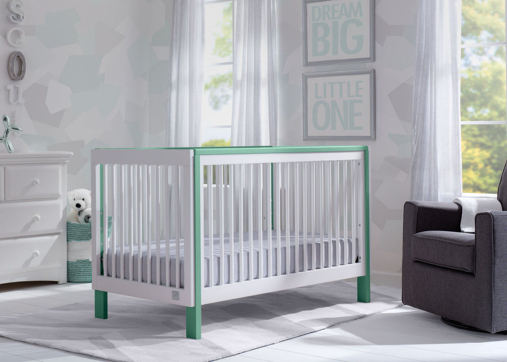 Serta Fremont 3-in-1 Convertible Crib Bianca with Aqua (134) Room View a1a