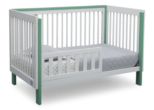 Serta Fremont 3-in-1 Convertible Crib Bianca with Aqua (134) Toddler Bed a4a