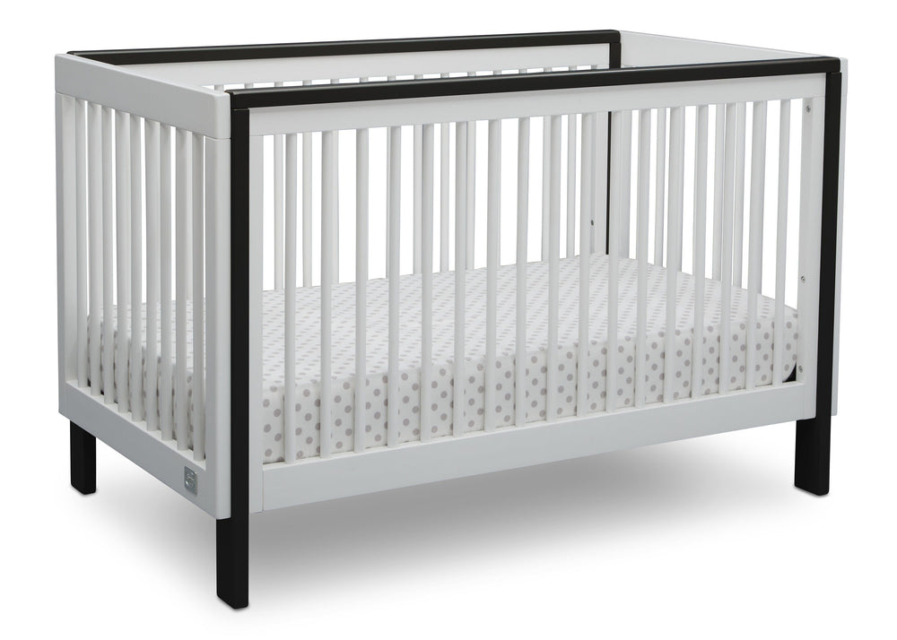 Serta Fremont 3-in-1 Convertible Crib Bianca with Ebony (149) Angle b2b