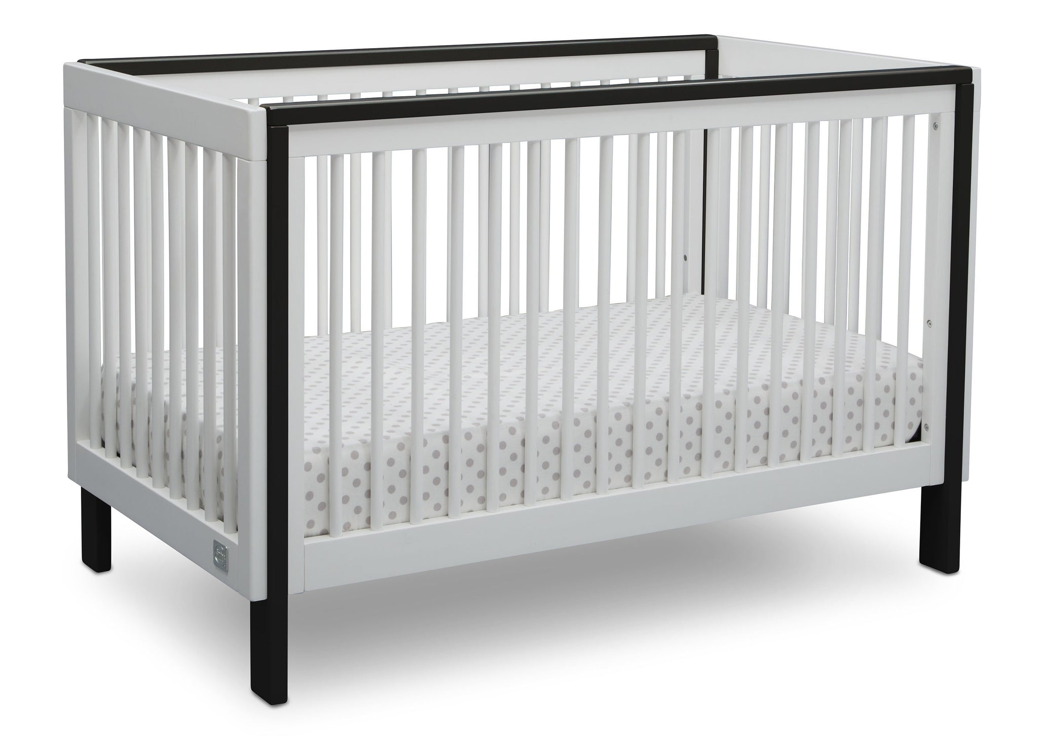 Serta Fremont 3-in-1 Convertible Crib Bianca White with Ebony (149) Angle b2b