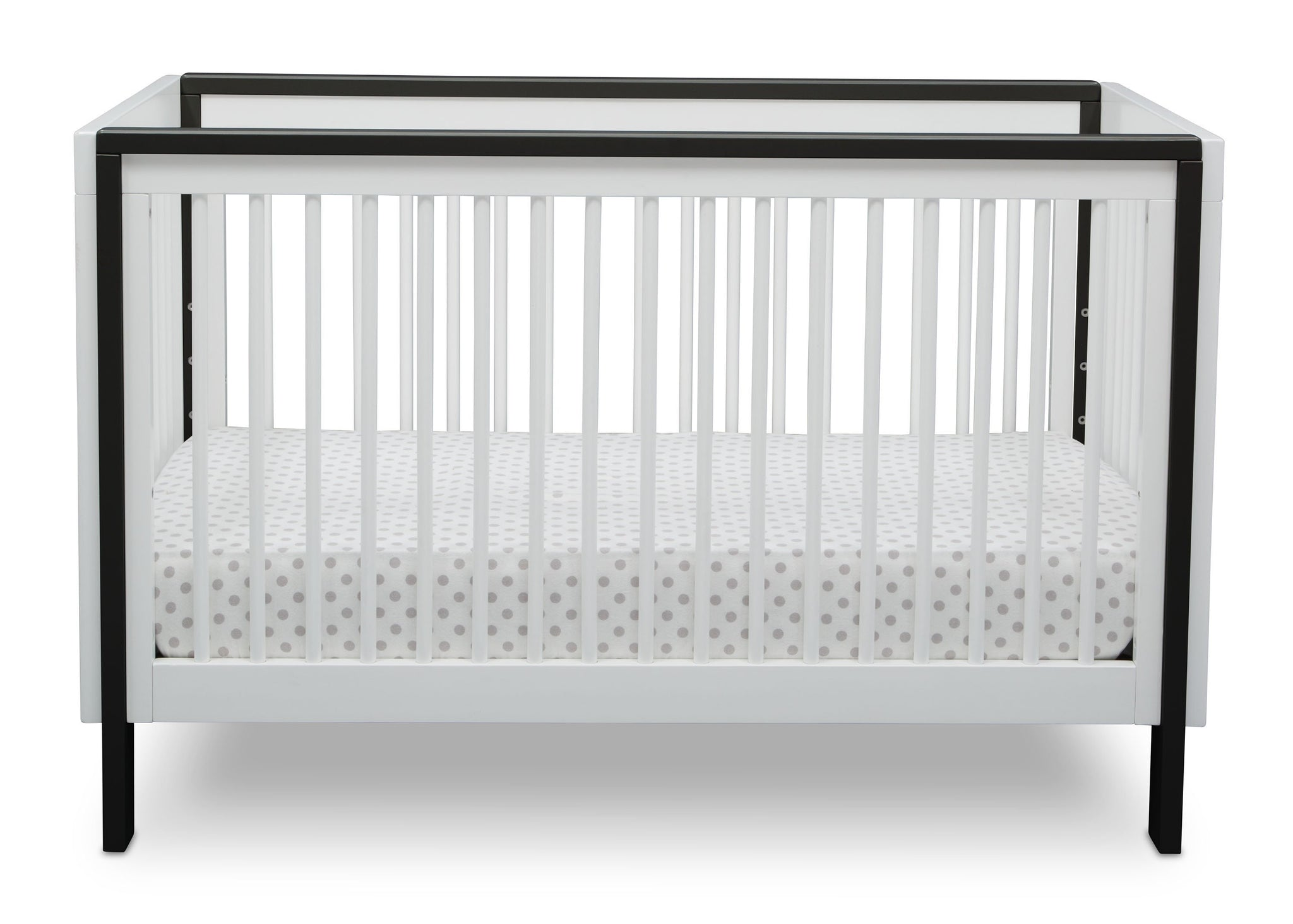 Serta Fremont 3-in-1 Convertible Crib Bianca White with Ebony (149) Front b3b