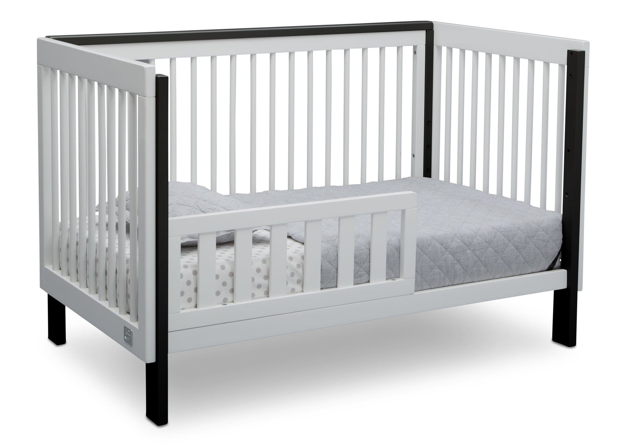 Serta Fremont 3-in-1 Convertible Crib Bianca White with Ebony (149) Toddler Bed b4b
