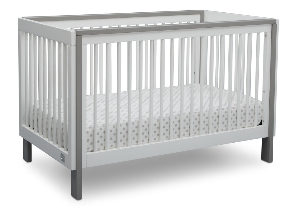 Serta Fremont 3-in-1 Convertible Crib Bianca with Grey (166) Angle c2c