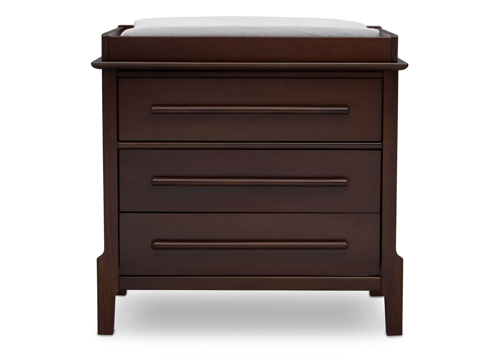 Serta Walnut Espresso (1324) Mid-Century Modern 3 Drawer Dresser with Changing Top, Front c1c