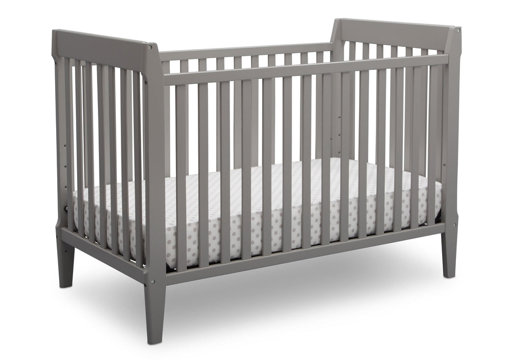 Serta Mid-Century Modern Classic 5-in-1 Convertible Crib Grey (026) Angle a2a