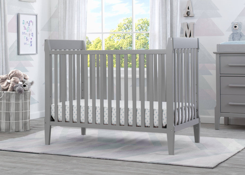 Mid-Century Modern Classic 5-in-1 Convertible Crib (Grey) - Bundle
