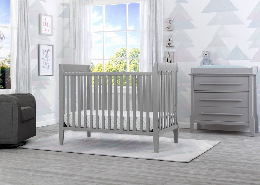 Serta Mid-Century Modern Classic 5-in-1 Convertible Crib Grey (026) Room a1a