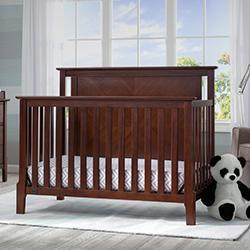 Mid-Century Modern Lifestyle 4-in-1 Convertible Crib (Walnut Espresso) - bundle