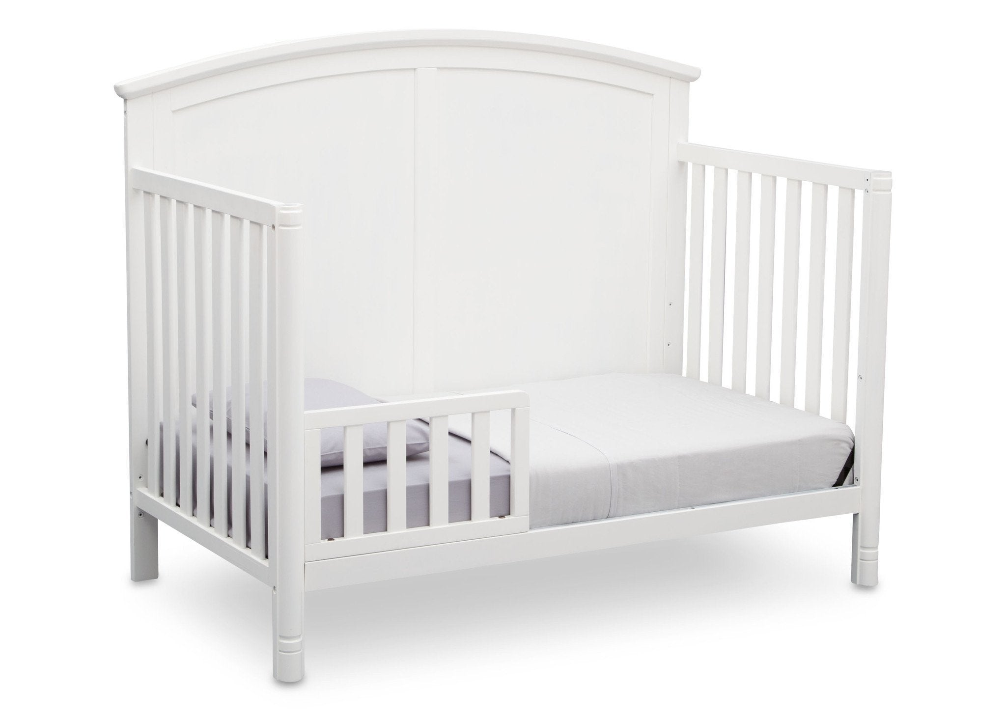 Delta Children White (100) Somerset 4-in-1 Crib Side View, Toddler Bed Conversion a4a