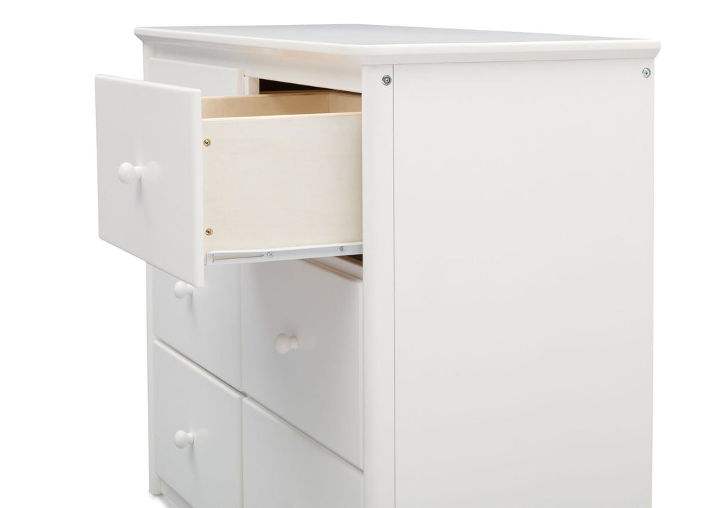 Delta Children White (100) Somerset 6 Drawer Dresser, Drawer Detail a3a