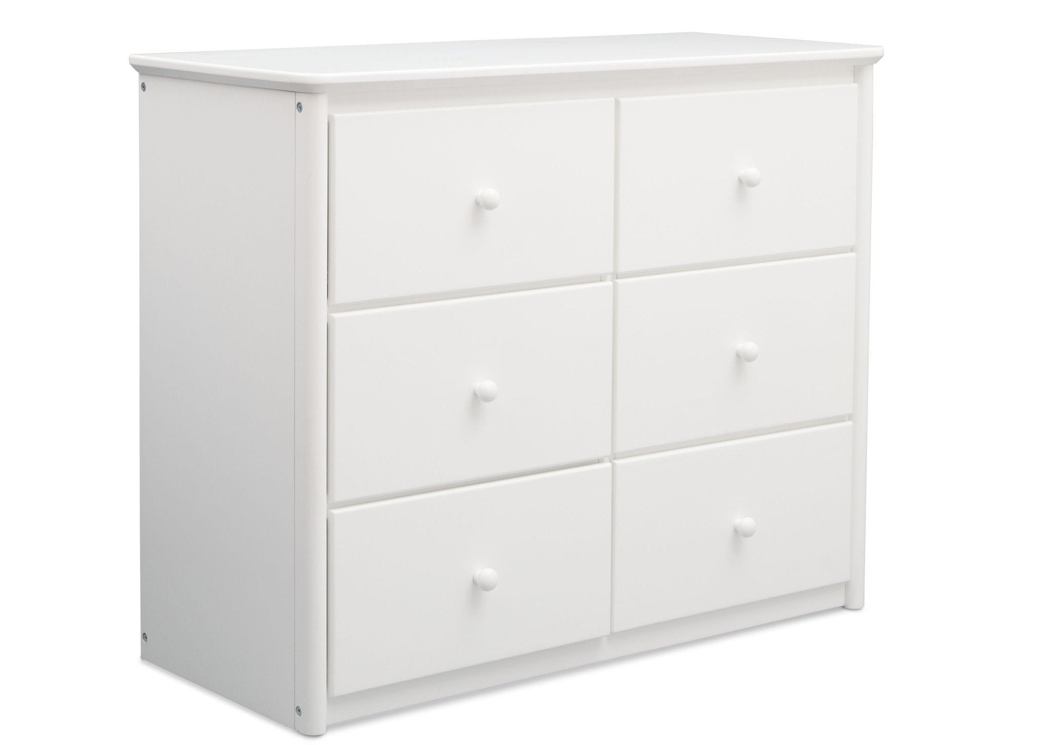 Delta Children White (100) Somerset 6 Drawer Dresser Side View a2a
