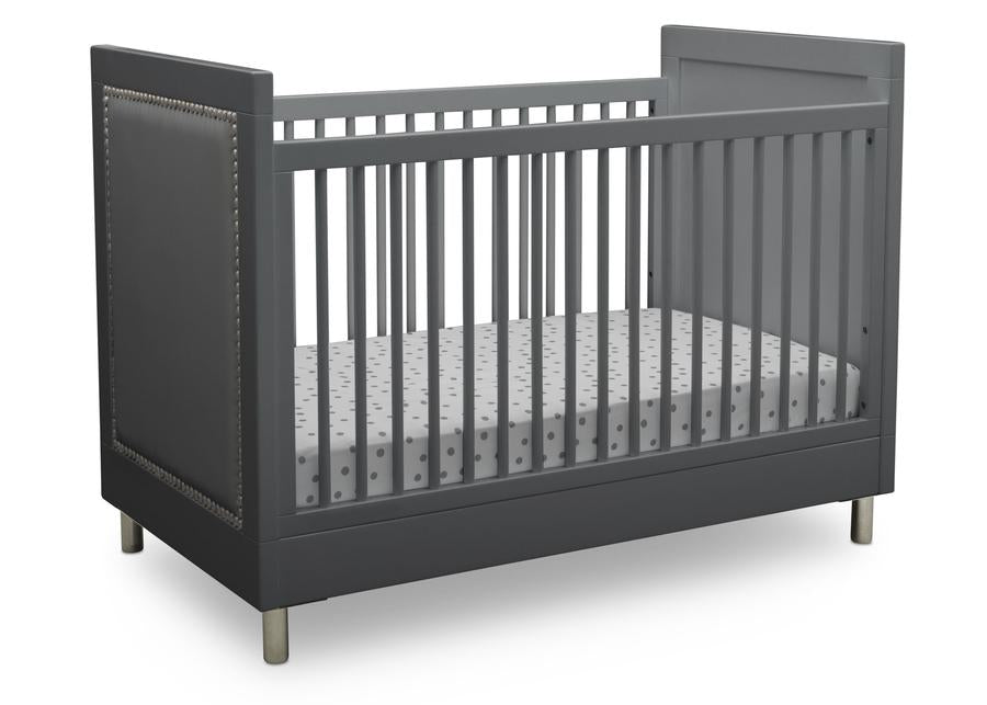 Delta Children Charcoal Grey (1323) Avery 3-in-1 Convertible Crib (708130), Right Crib Silo View