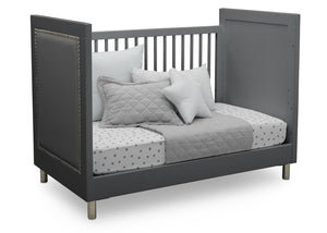 Delta Children Charcoal Grey (1323) Avery 3-in-1 Convertible Crib (708130), Right Day Bed Silo View