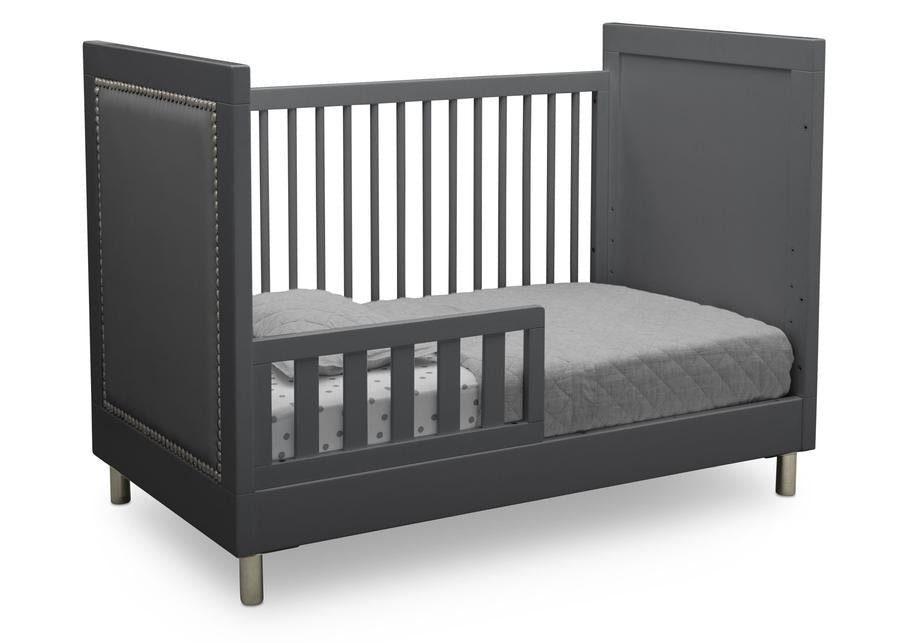 Delta Children Charcoal Grey (1323) Avery 3-in-1 Convertible Crib (708130), Right Toddler Bed Silo View