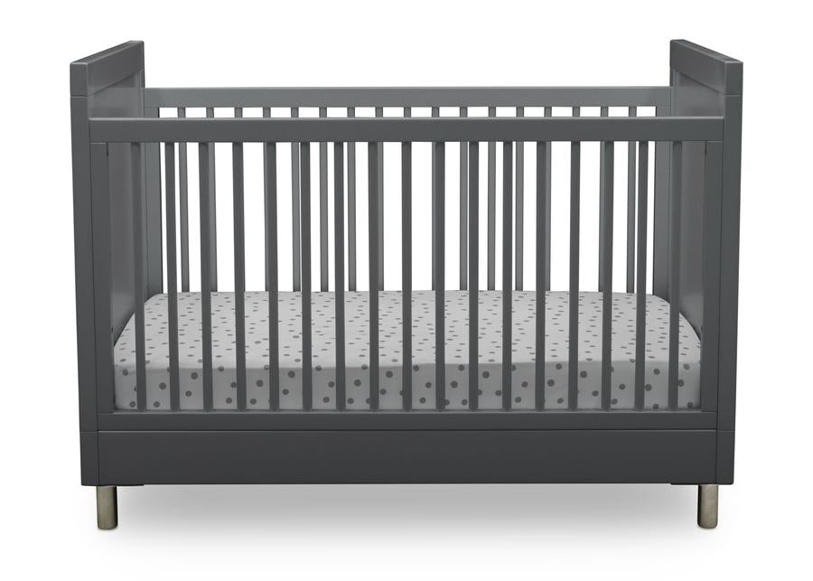 Delta Children Charcoal Grey (1323) Avery 3-in-1 Convertible Crib (708130), Front Crib Silo View
