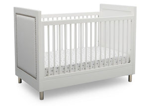 Delta Children Bianca White (1321) Avery 3-in-1 Convertible Crib (708130), Right Crib Silo View