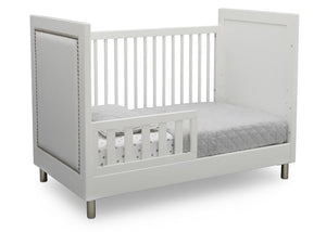 Delta Children Bianca White (1321) Avery 3-in-1 Convertible Crib (708130), Right Toddler Bed Silo View