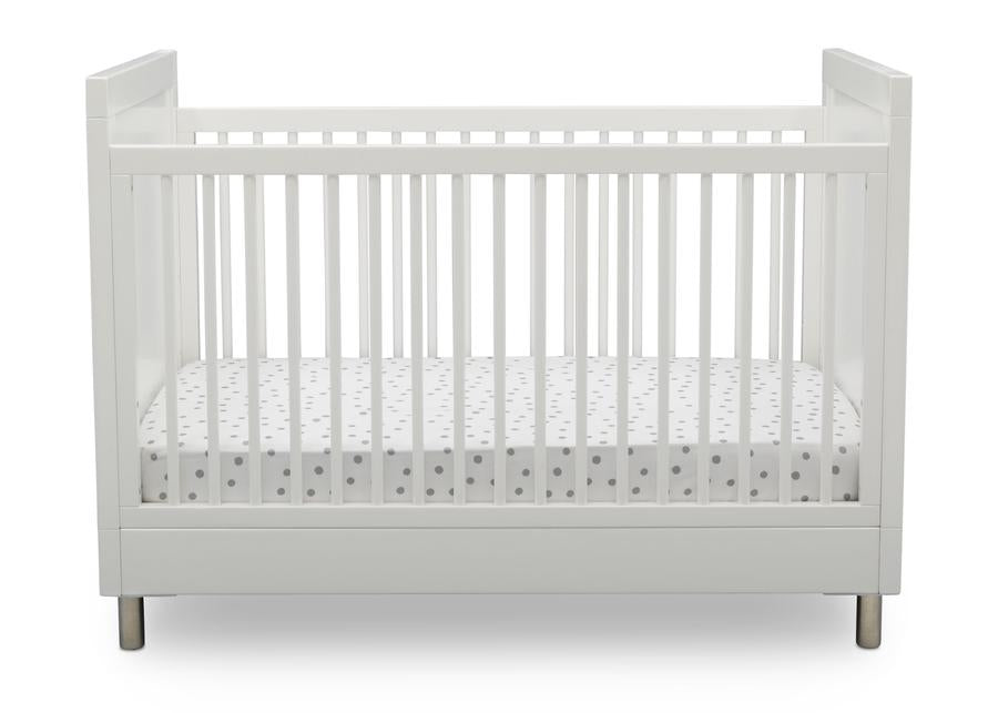 Delta Children Bianca White (1321) Avery 3-in-1 Convertible Crib (708130), Front Crib Silo View