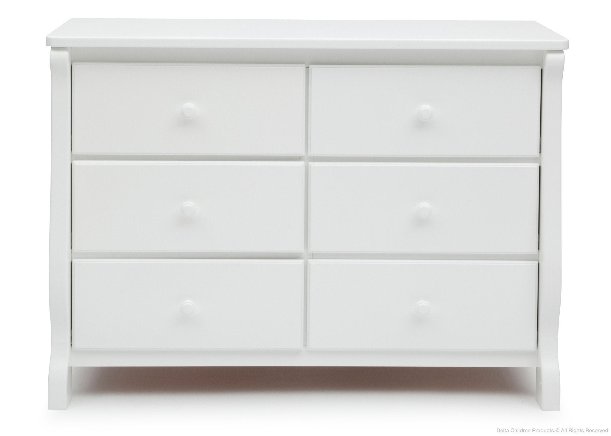 Delta Children White (100) Canton / Eclipse Dresser Front View c1c