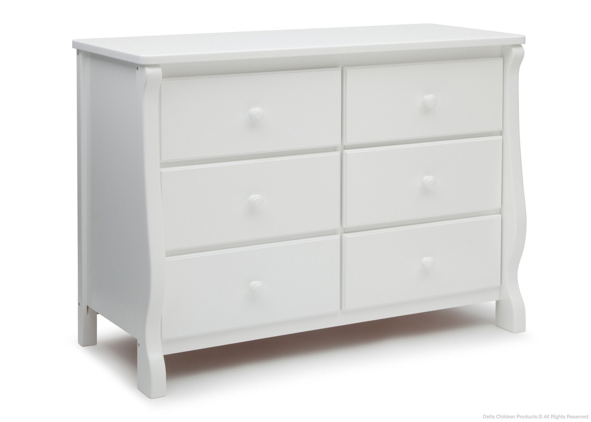 Delta Children White (100) Canton / Eclipse Dresser Side View c2c