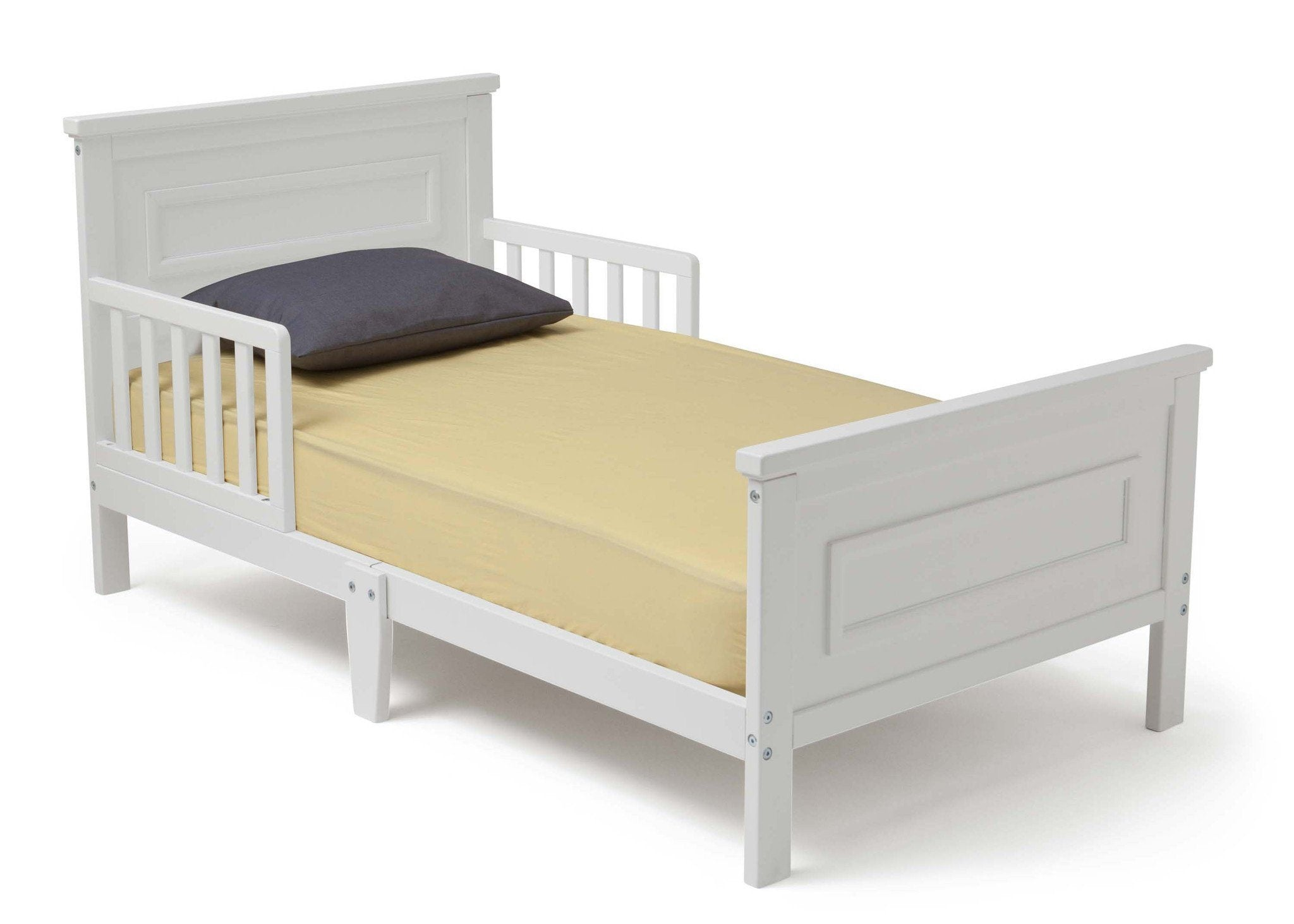Delta Children White (100) Classic Toddler Bed, Right Side View b2b