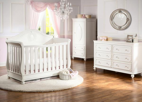 Delta Children White Ambiance (108) Princess Magical Dreams Dresser, Room View b1b