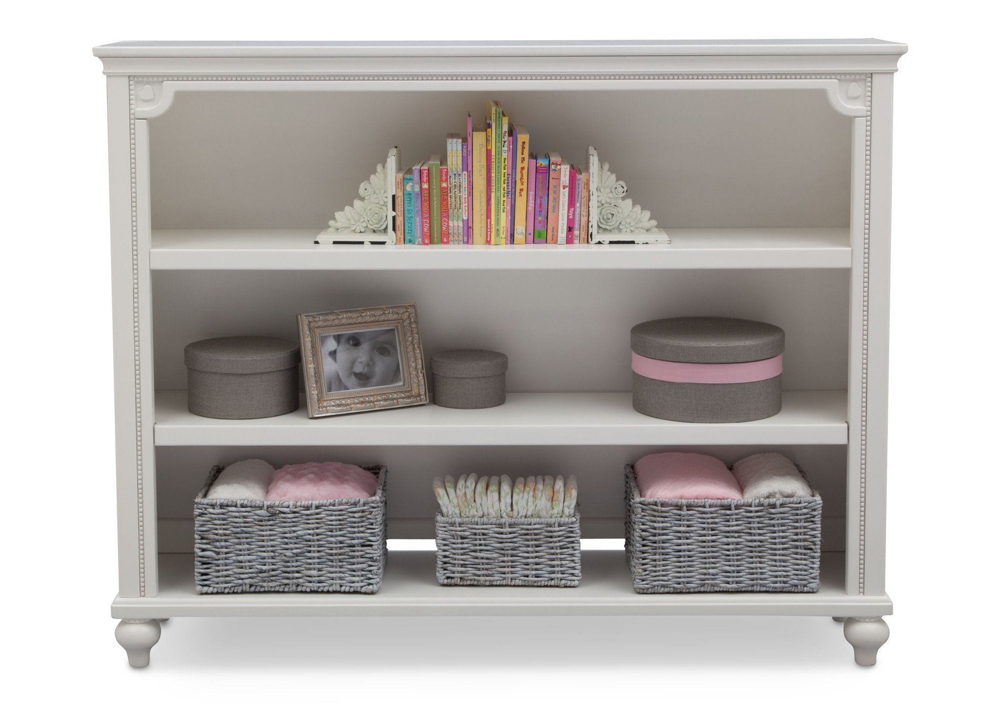 Delta Children White Ambiance (108) Disney Princess Magical Dreams Bookcase/Hutch Front View with Included Base and Props a7a