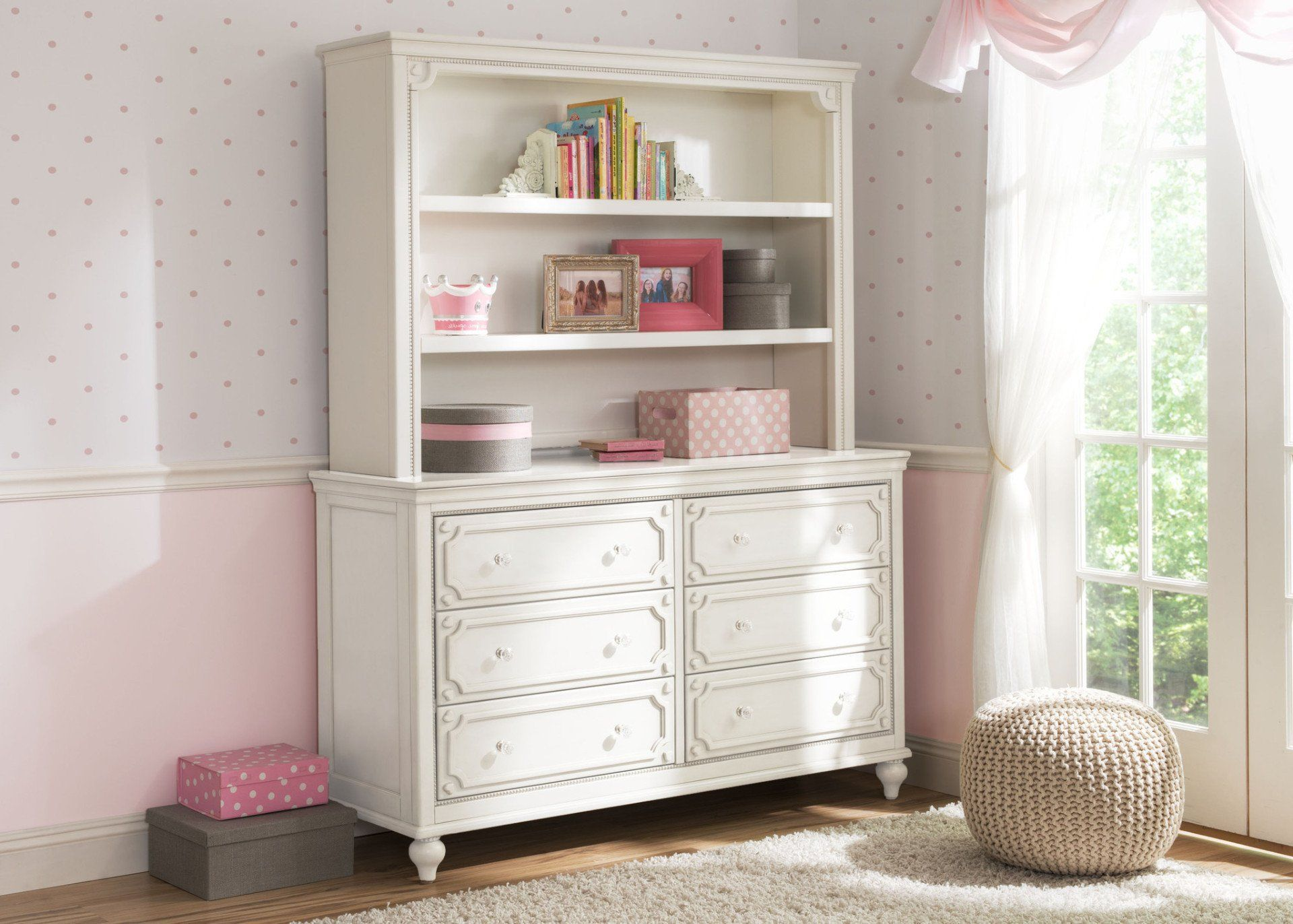 Delta Children White Ambiance (108) Disney Princess Magical Dreams Bookcase/Hutch Front View atop the Disney Princess Magical Dreams 6-Drawer Dresser, Room View a1a