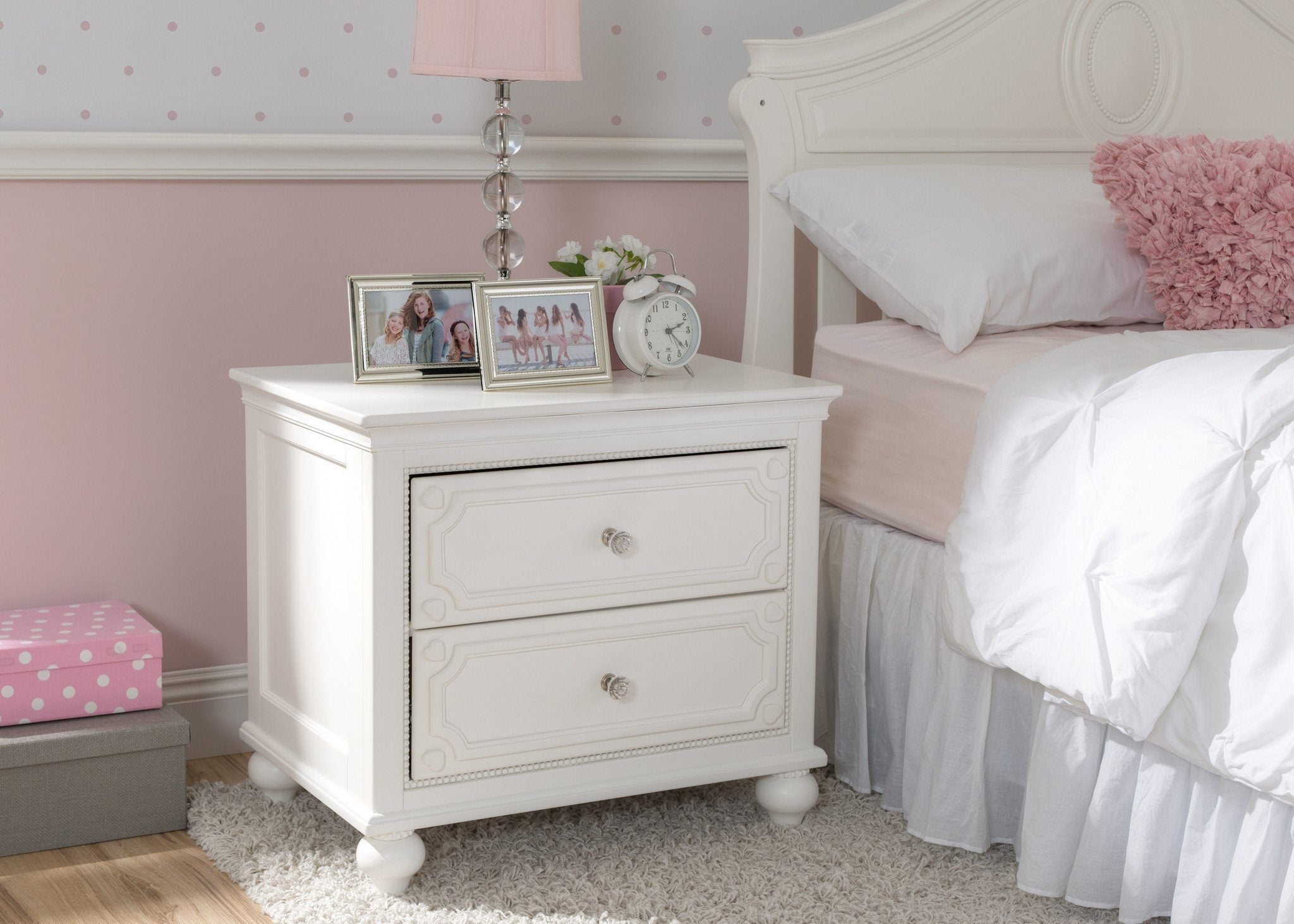 Delta Children White Ambiance (108) Disney Princess Magical Dreams Nightstand Side View a0a