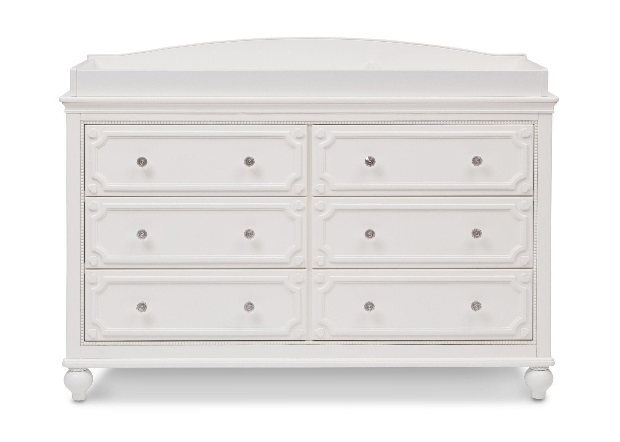 Delta Children White Ambiance (108) Princess Magical Dreams Dresser Front View with Changing Top