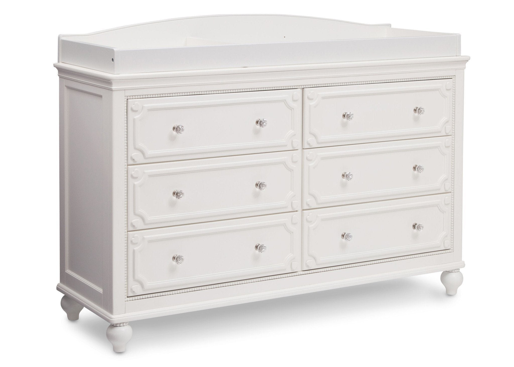 Delta Children White Ambiance (108) Princess Magical Dreams Dresser Side View with Changing Top